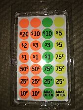 Price Tags GARAGE SALE STICKERS Rummage Sale Flea Market Auction Retail Labels