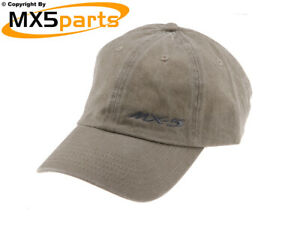 Official Mazda MX5 Merchandise Baseball Style Beige Cap Hat With Small MX-5 Logo