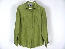 Atlantic Beach Tiger J.L.L.C. M Green 100% Silk LS Button Front Blouse