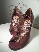 JIMMY CHOO CLASSY PLUM WINE ANKLE STRAPPY LACE UP HEELS SIZE 8 38
