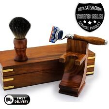Mens Shaving Set in Pure Wood 5 Edge Blade Razor Badger Brush Stand & Box