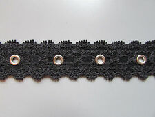 "Black Lace Eyelet Trim/Tape 2cm 3/4"" Sewing/Costume/Crafts/Corsetry/Bridal"
