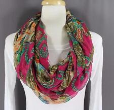 Pink paisley floral pattern scarf circle infinity endless loop long gauze light