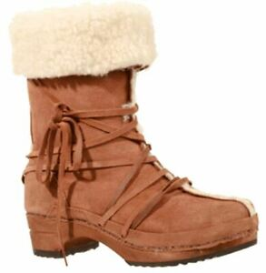 SANITA Fur and Laces Wooden boots in Suede