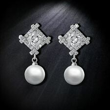 18K WHITE GOLD PLATED GENUINE CUBIC ZIRCONIA  & PEARL DANGLE CLIP-ON  EARRINGS