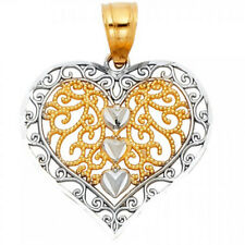 Two Tone 3 Heart Filigree Miligrain Pendant 14k Yellow & White Gold No Chain