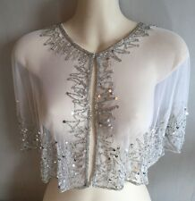 Hand Beaded Shrug Cape Wrap Stole Bridal  - White/Silver  - Brand NEW - One Size