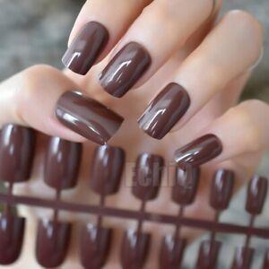 24PCS Fake Nails Deep loving Chocolate False Nails Shiny Square Long Solid Brown