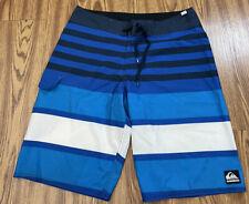 #831 MEN Quiksilver SWIMMING Board SHORTS  Blue Striped   Size 32
