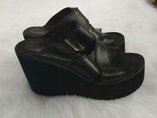 Vintage 90's Bongo Women's Black Leather Buckle Platform Wedge Heels Sandals 7M