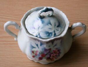 Vintage Leuchtenburg Germany Porcelain Sugar Bowl w/ Lid, Hand Painted