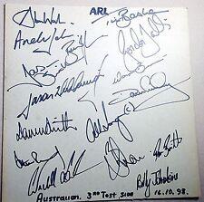 1998 AUSTRALIAN RUGBY LEAGUE TEAM versus NZ ~ 16 HAND SIGNED PLAYER  AUTOGRAPHS
