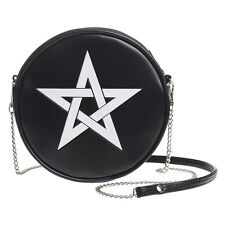 White Pentagram Black Purse Round Vinyl Shoulder Bag Handbag Alchemy Gothic GB2