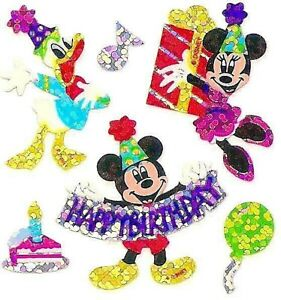 *RARE* GLITTERY HAPPY BIRTHDAY MICKEY & FRIENDS Sandylion Stickers - 5 squares