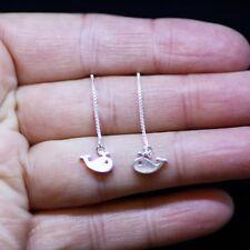 Tiny Whale Earrings Sterling Silver 925 , Little Girl Earrings , Long Threader
