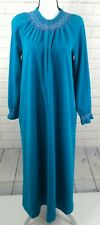 Women's Vintage VANITY FAIR Robe Nightgown Turquoise Blue Zip Front Size S