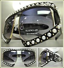 OVERSIZED EXAGGERATED RETRO Style SUN GLASSES Black & Gold Pearl Frame HANDMADE!