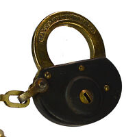YALE & TOWNE Padlock Brass Vintage Old Antique Lock Oval Chain (no key)