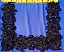 Neckline Applique Collar Square Embroidered Venice Lace Applique Black #490