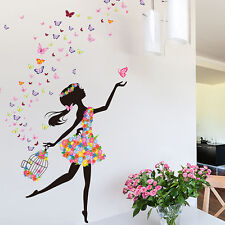 Butterfly Flower Girl Removable Wall Sticker Vinyl Decal DIY Mural Nursery  Decor Part 79