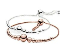 925 Sterling Silver Rose Gold String of Beads Sliding Bracelet Push Pull