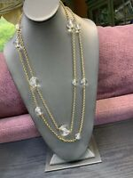 "Vintage 1970's 54"" Lucite Pools Of Light Beaded Long Sweater Necklace Gold Tone"