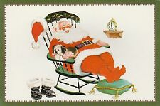 Vintage Christmas Card Santa Claus with Dog Rocking Chair Unused with Envelope