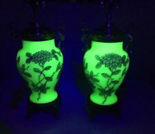 Rare Pair of Jules Barbe for Thomas Webb Gilt Uranium Glass Lamps - 1880s