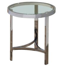 """""""Starta"""" Accent End Occasional Side Table Chrome Glass Top Round 20'' by !nspire"""