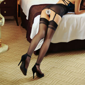 Back Seamed Effect Backside Line Sexy Stockings Thigh High Nylons 15 Denier