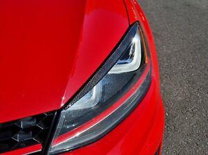 Real Carbon Fiber headlight Eyeline Eyelids Garnish trim Fit Volkswagen Golf GTI