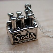 Six Pack of Soda Necklace - 925 Sterling Silver - Soda Charm Pop Drink Sip Charm