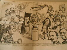 Caricature 1880 - 2ème Centenaire Comedy French 22 characters and more