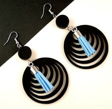 Black Lightweight Wood Filigree Earrings with Faux Suede Blue Tassels #1423