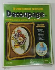 Vintage Decoupage Kit Art Craft 3-Dimensional Boutique Wood Shadow Box Frame