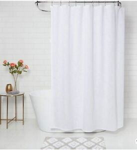 Threshold 100% Cotton White Textured Woven Shower Curtain New Open Package 72x72