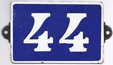 Old blue French house number 44 door gate plate plaque enamel metal sign steel