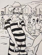 Jean PLUMET (1871-1939) Plage mer baignade L'Assiette au beurre natation nager