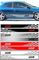 2 X BANDES RACING DAMIERS POUR PEUGEOT 206 AUTOCOLLANT STICKER (BD577)