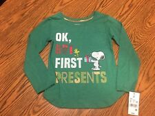 Christmas Peanuts Toddler Girls' Ok, But First Presents L/S Shirt Green Size 5T