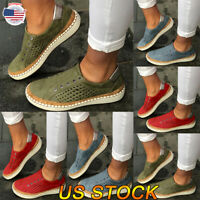 Women Walking Casual Running Round Toe Slip On Flat Sneakers Breathable Shoes US