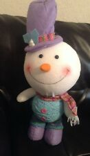 """Snowman Winter Standing Decoration 18"""" Yarn Ball Belly Carrot Nose Adorable NWT"""