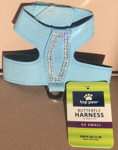"*NEW*  Top Paw Butterfly Harness XX Small 10""- 11"" Blue Dog Cat NWT S M L XXS"