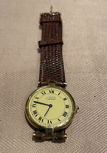 Vintage Cartier Gold  Over Silver Wristwatch. Original Cartier Strap And Buckle