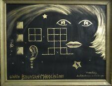 Ancien tableau composition mixte abstraite peint à l'or signé & contre signé