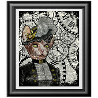 Sphynx Cat Art on Antique Dictionary Page, Victorian Steampunk Picture Print