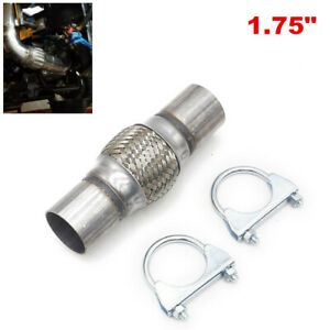 """1.75"""" inlet Stainless Steel Car Exhaust Flex Pipe Double Braided Heavy Duty Tube"""