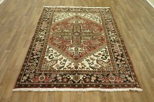 """Hand-Made  5'0"""" x 6'7"""" Vintage Heriz Wool Area Rug Hand-Knotted  5X8 Area Rug"""