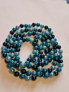 Vintage Art Deco Blue Pearl Glass Flapper Bead Necklace