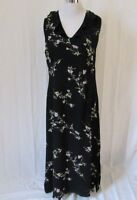 Studio I Womens Maxi Dress Size 12 Sleeveless Ruffle V-Neck Fully Lined Floral